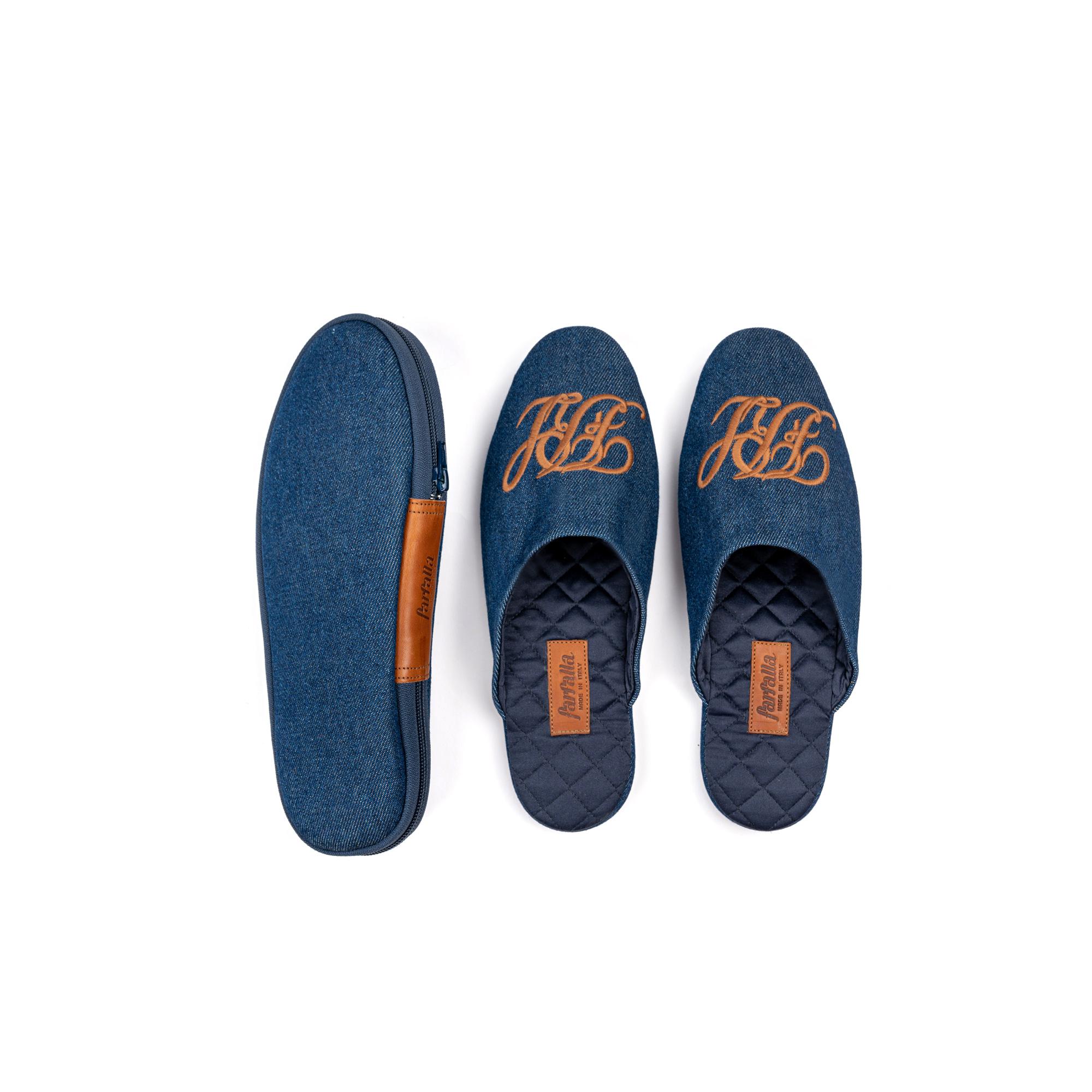 Indoor travelling slipper in denim - Farfalla italian slippers