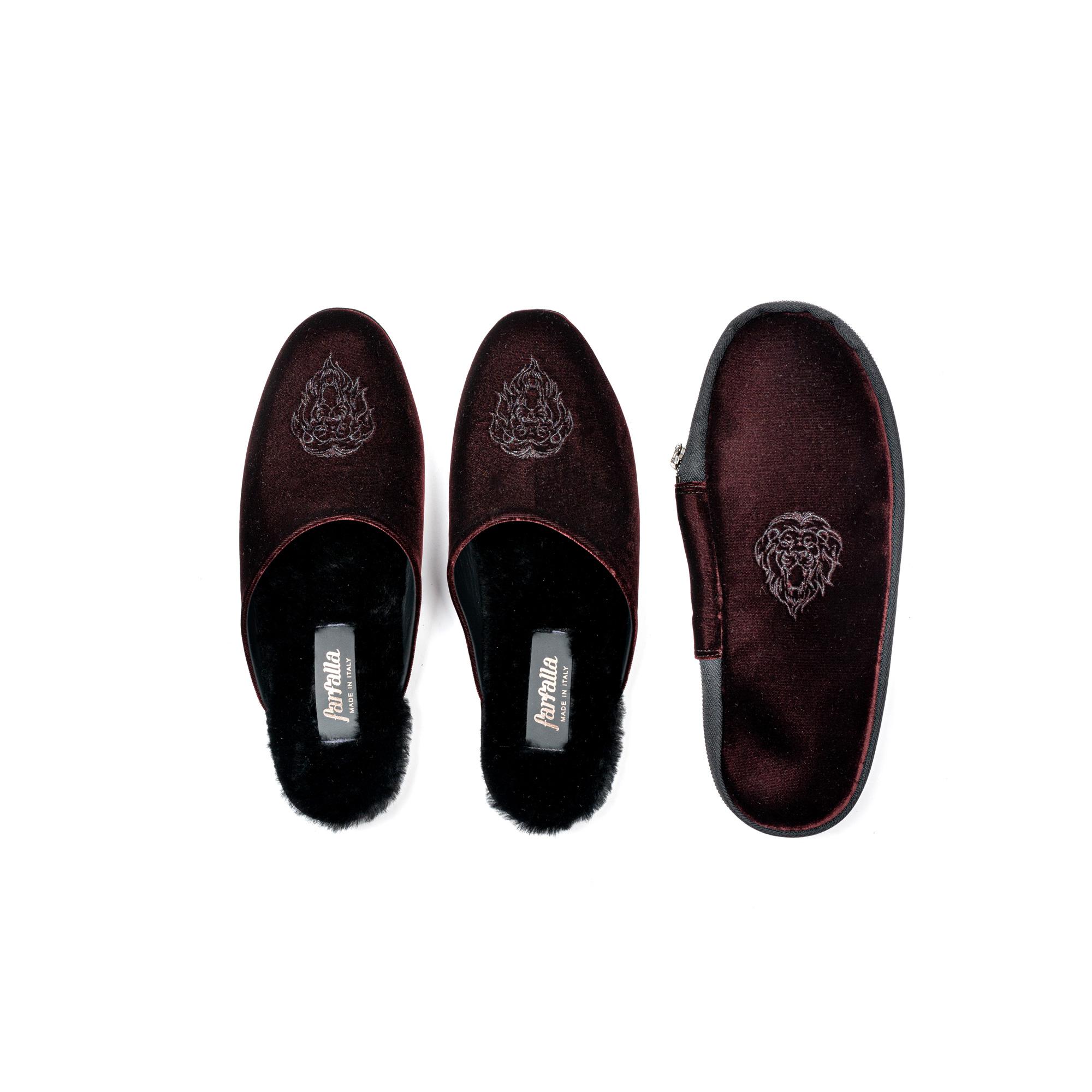 Indoor travelling slipper in velvet - Farfalla italian slippers