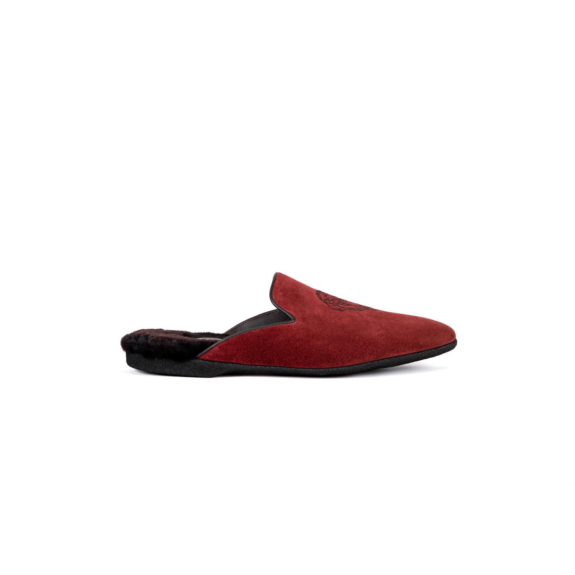 Indoor luxury slipper in cherry velour - Farfalla italian slippers