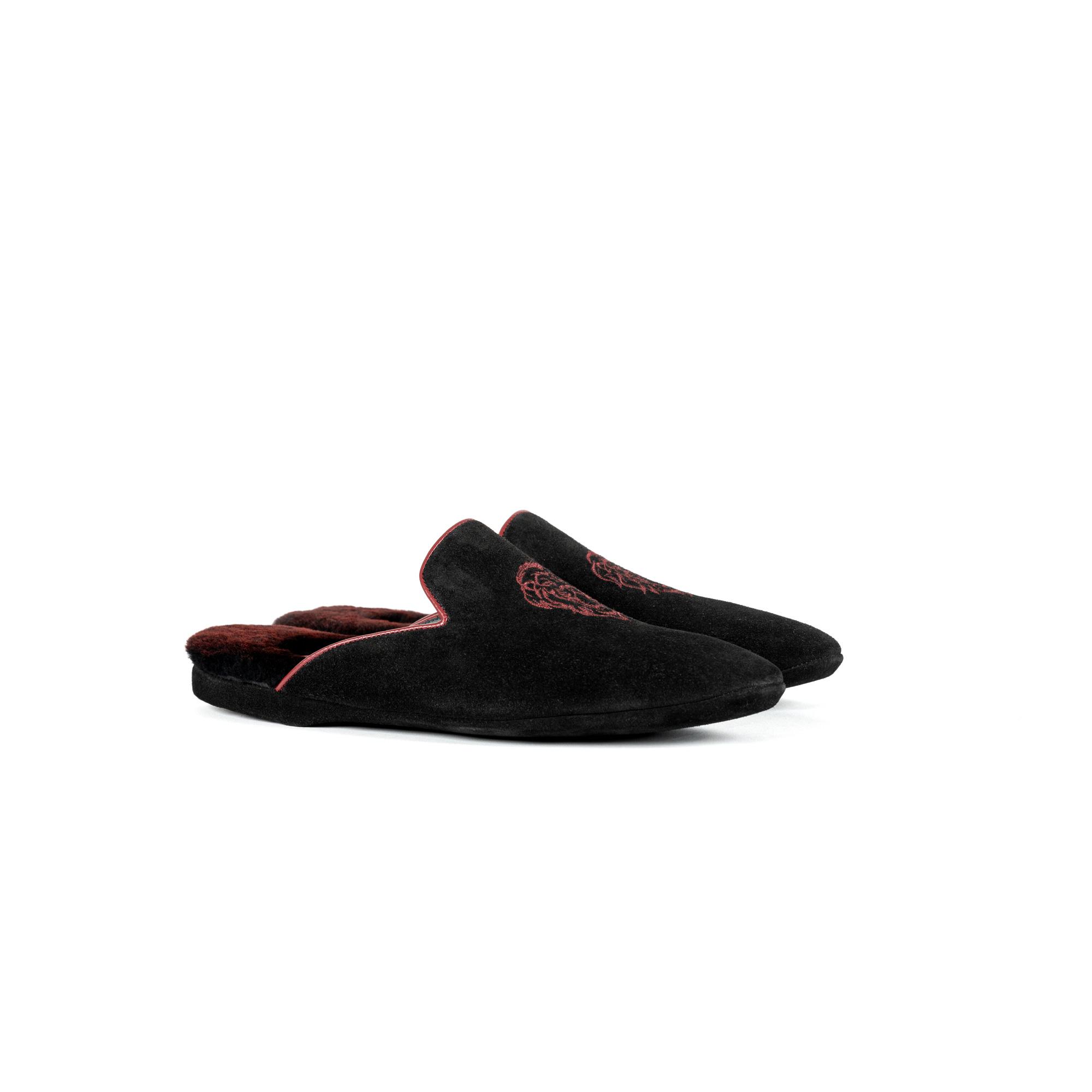 Pantofola interno lusso in velour nero - Farfalla italian slippers