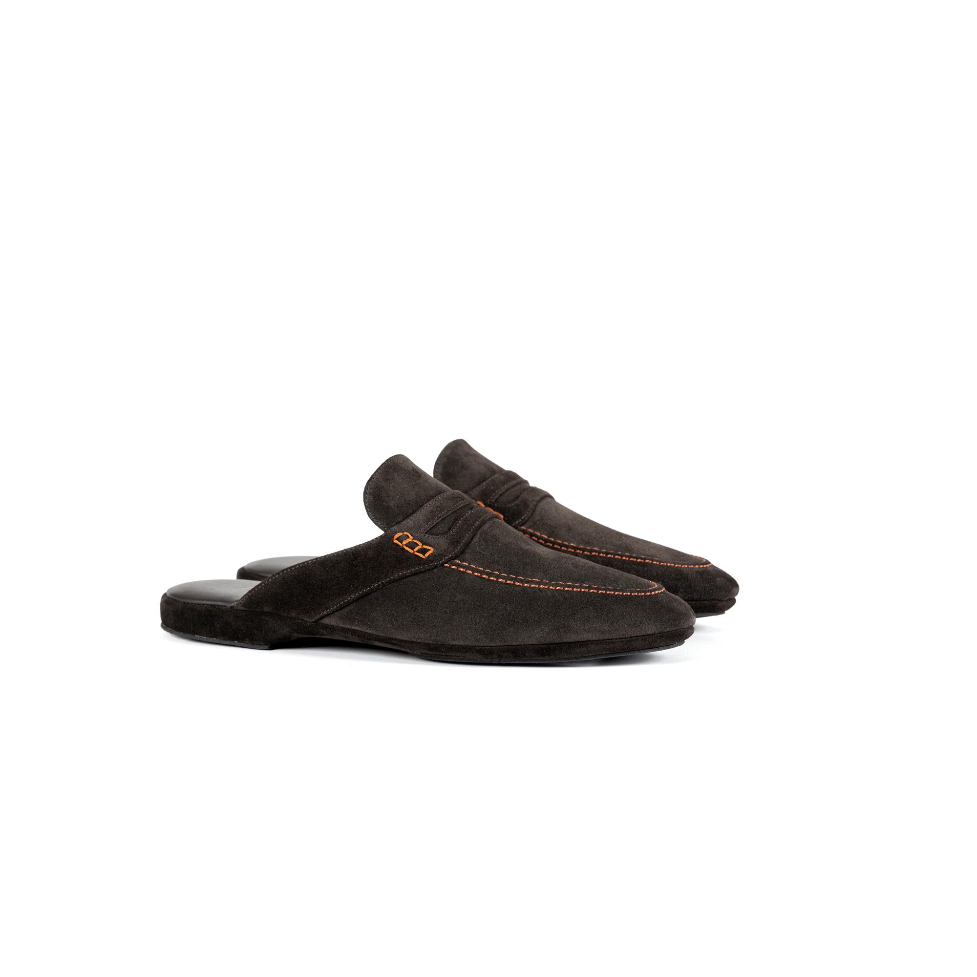 Indoor classic slipper open in dark brown velour - Farfalla italian slippers