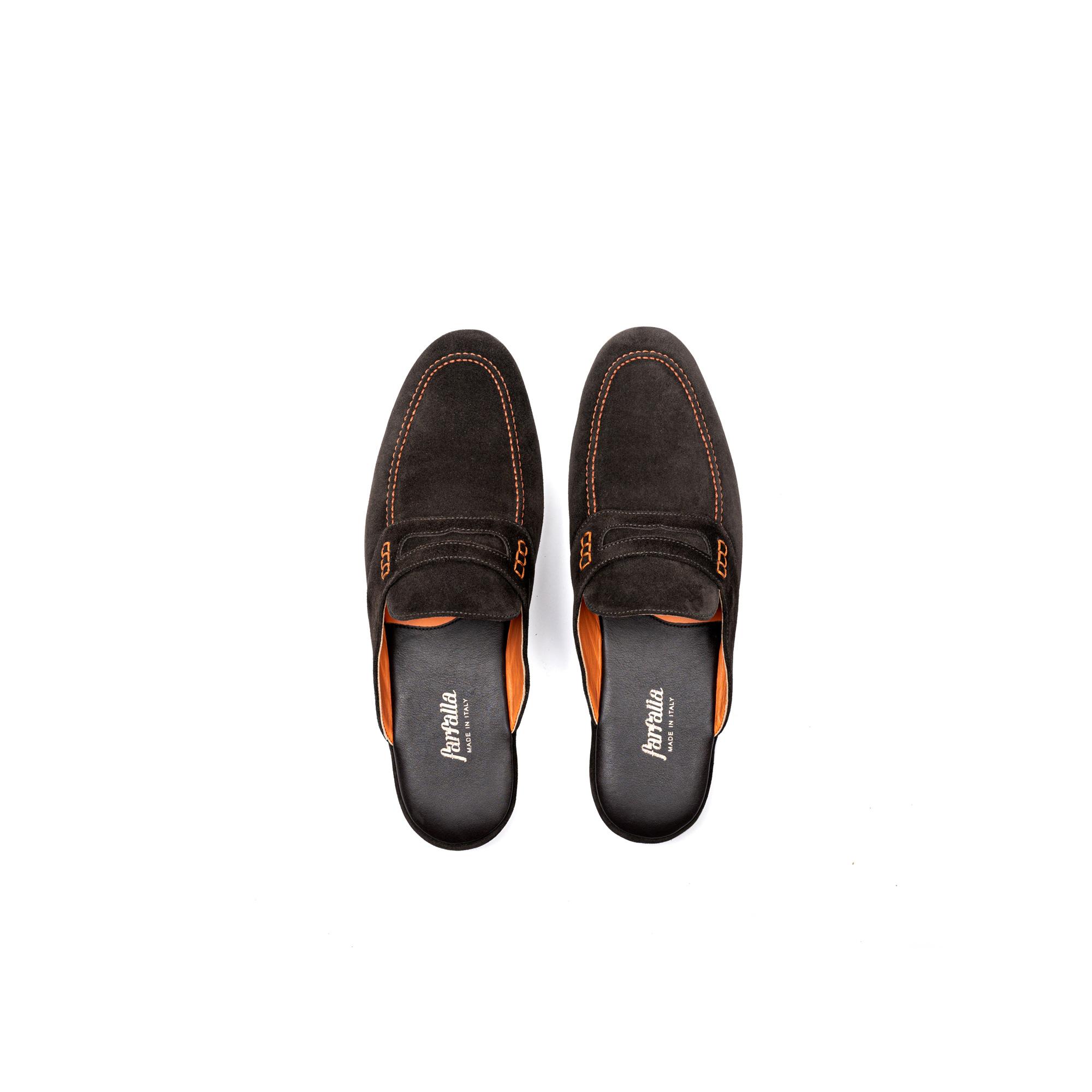 Pantofola interno classico aperta in velour pepe - Farfalla italian slippers