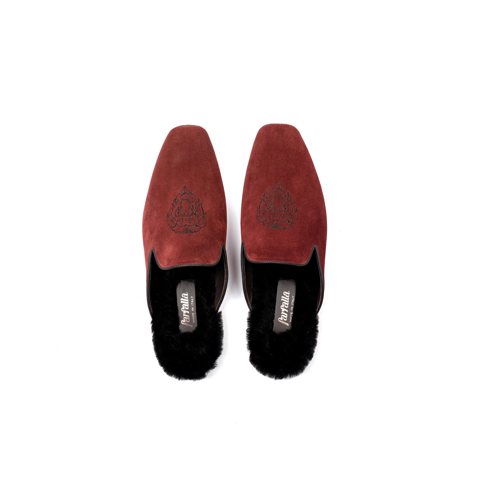 Pantofola interno lusso in velour cherry - Farfalla italian slippers