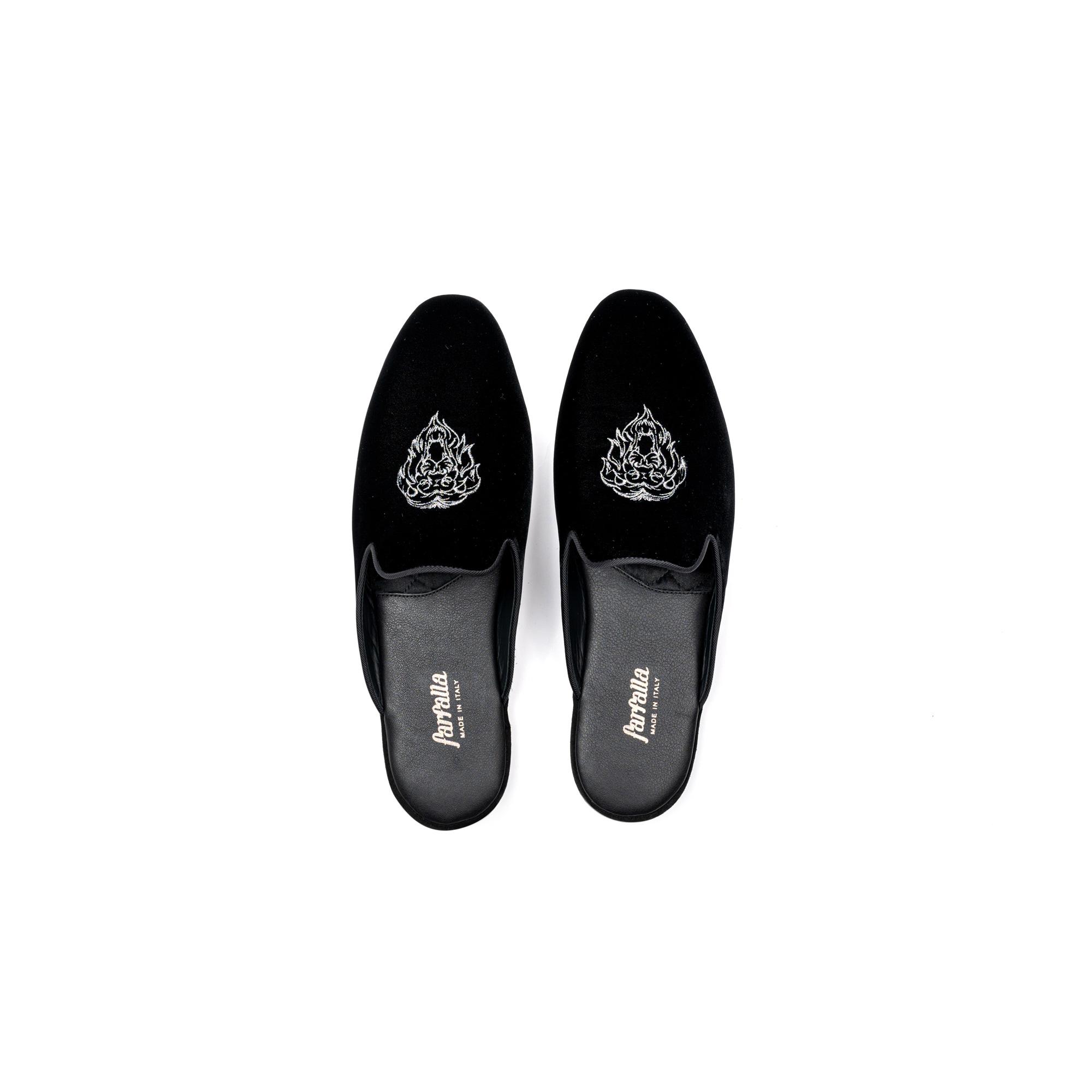 Pantofola interno sera in velluto nero - Farfalla italian slippers