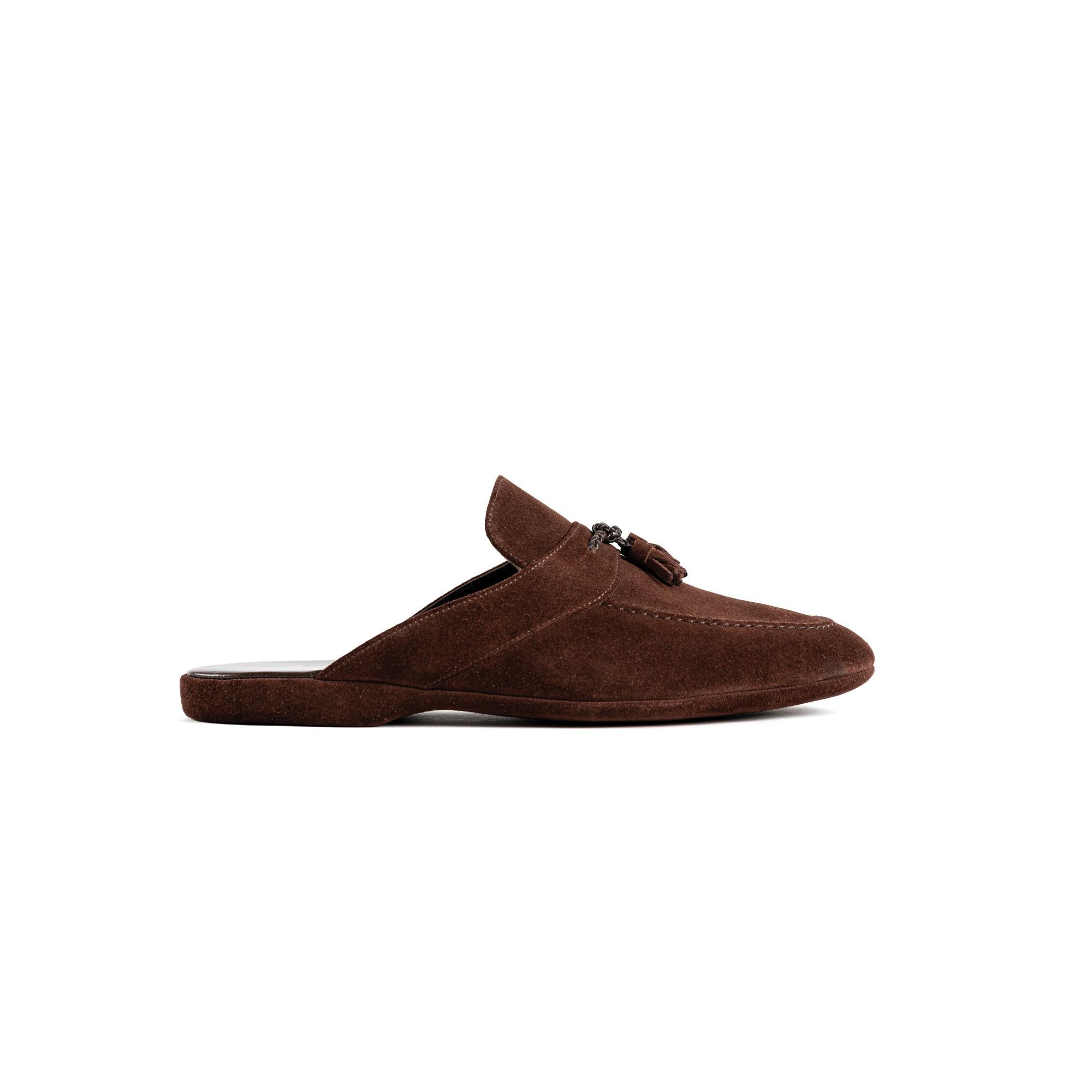 Indoor classic slipper open in brown velour - Farfalla italian slippers