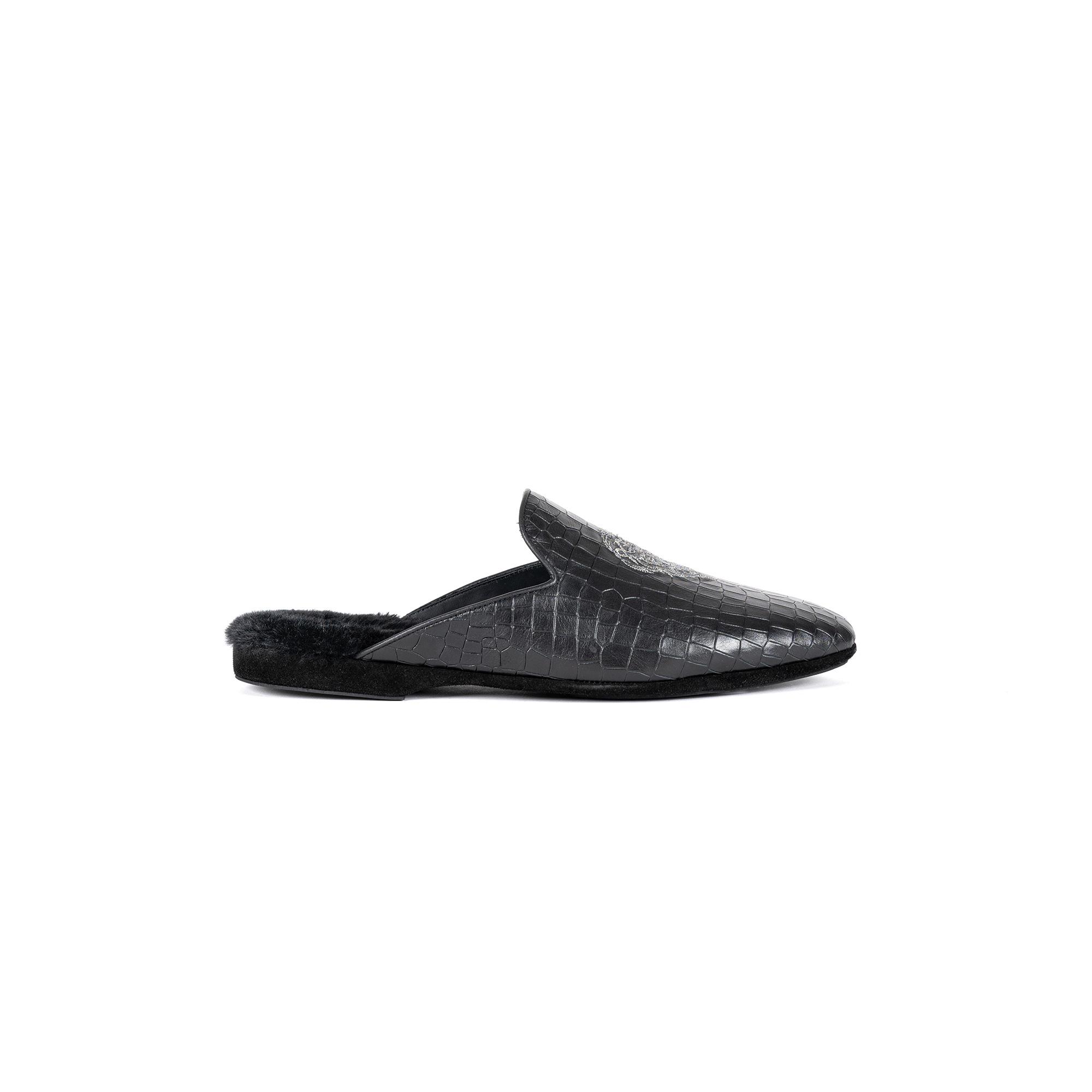 Indoor luxury slipper in black cocco print leather - Farfalla italian slippers