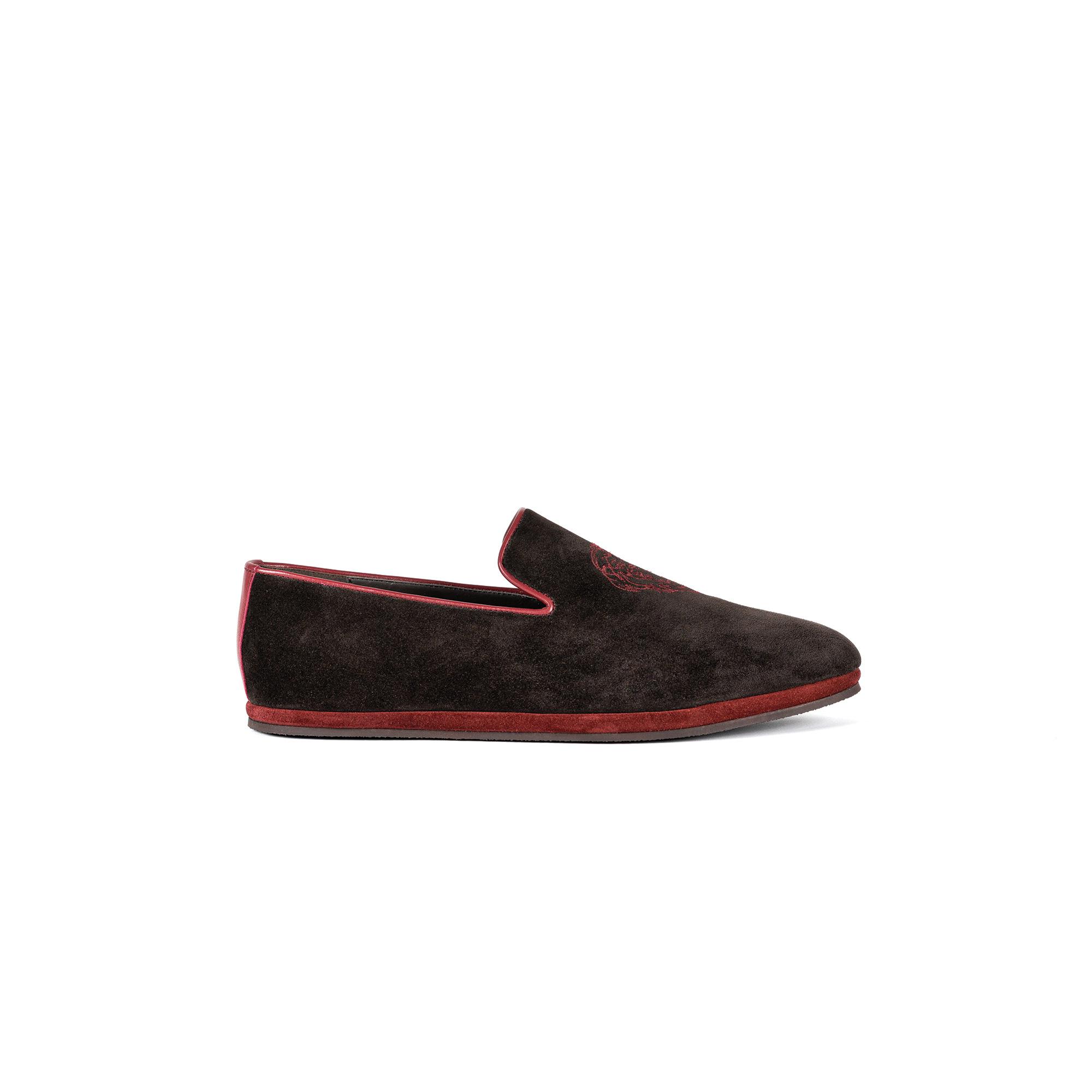 Pantofola interno classico chiusa in velour pepe - Farfalla italian slippers