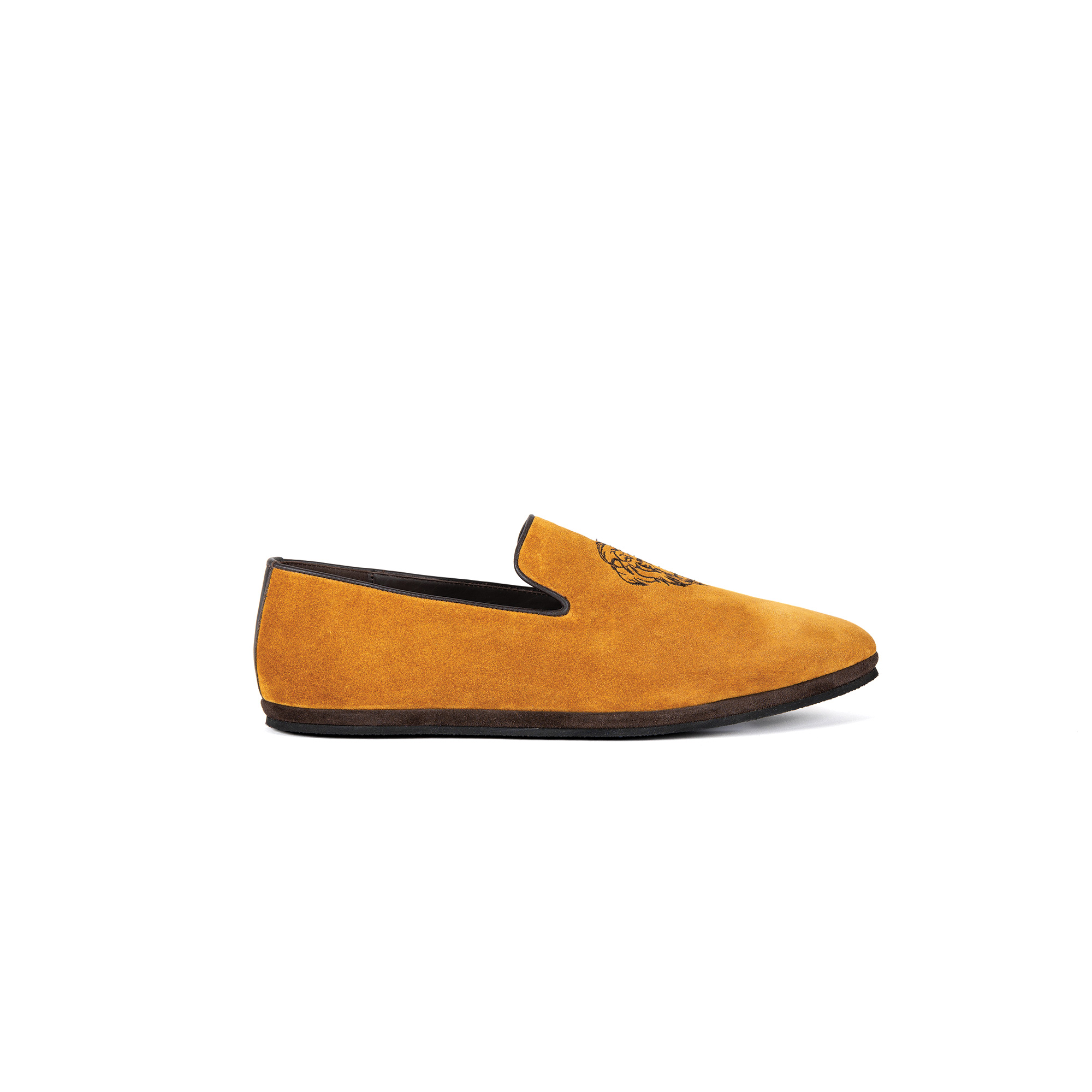 Pantofola interno classico in velour zafferano - Farfalla italian slippers