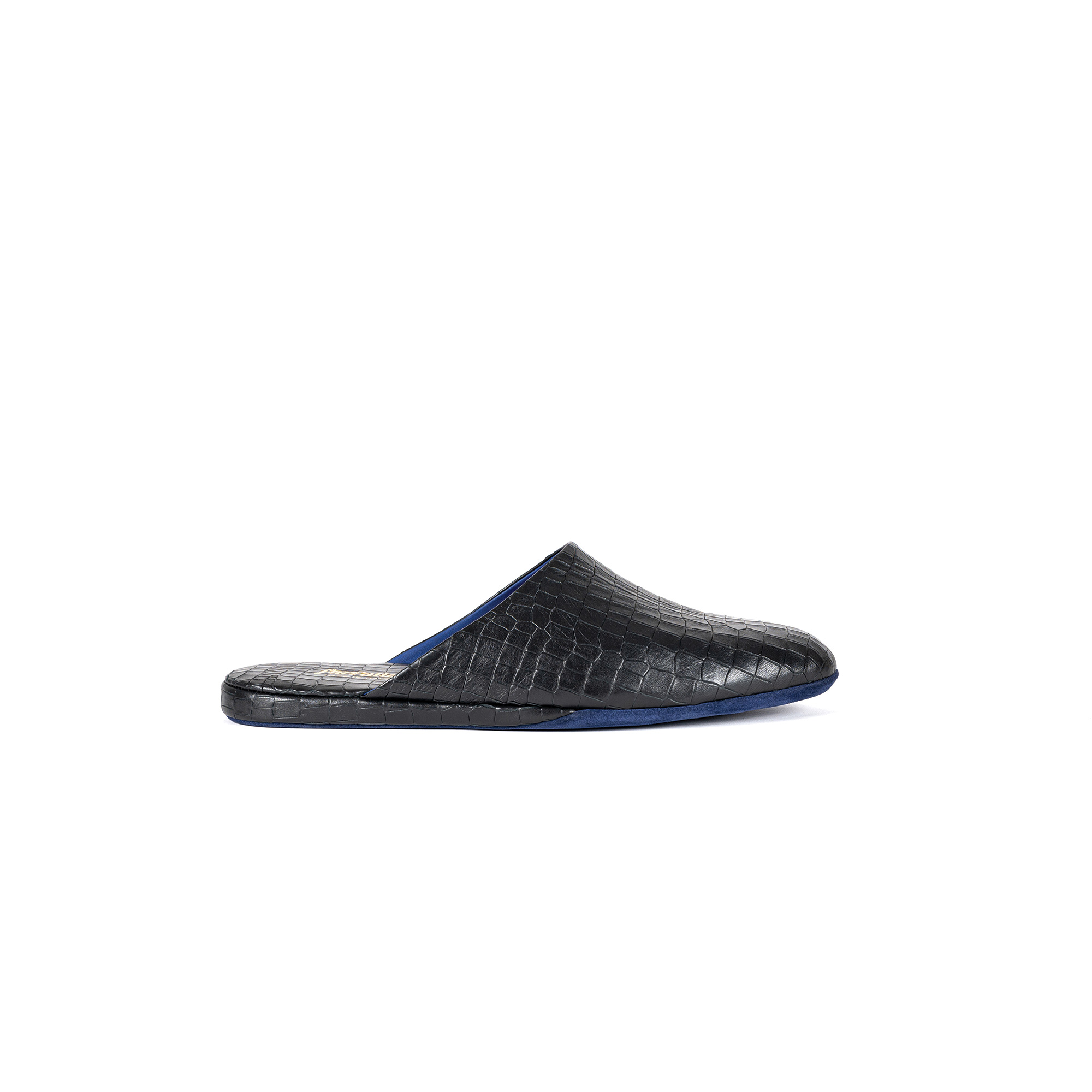 Indoor luxury slipper open in leather cocco print - Farfalla italian slippers