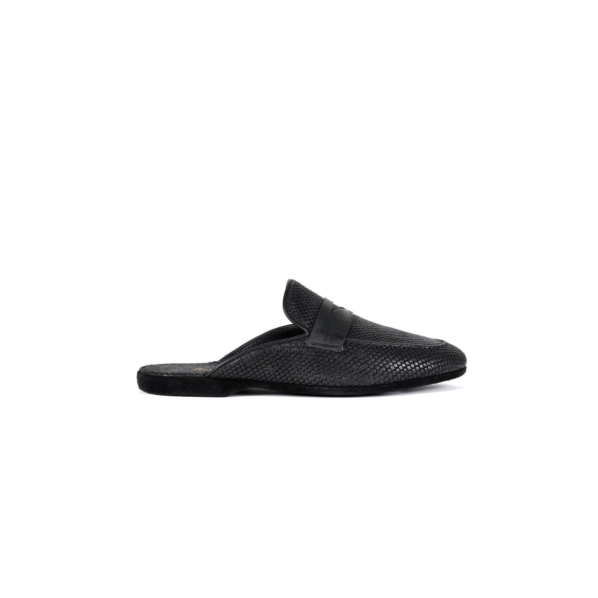 Indoor luxury slipper in black exotic print leather - Farfalla italian slippers