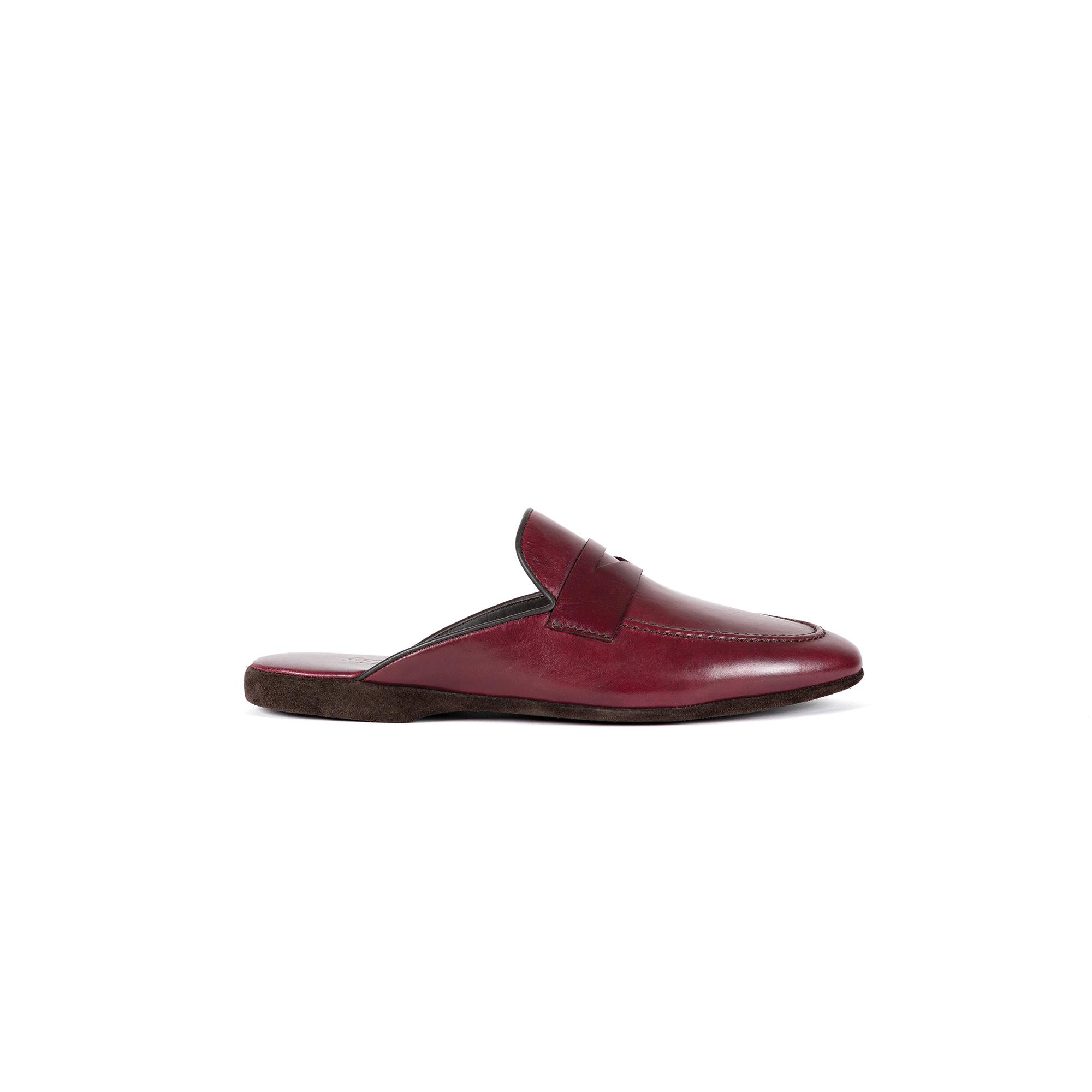 Indoor classic slipper in bordeaux calf leather - Farfalla italian slippers
