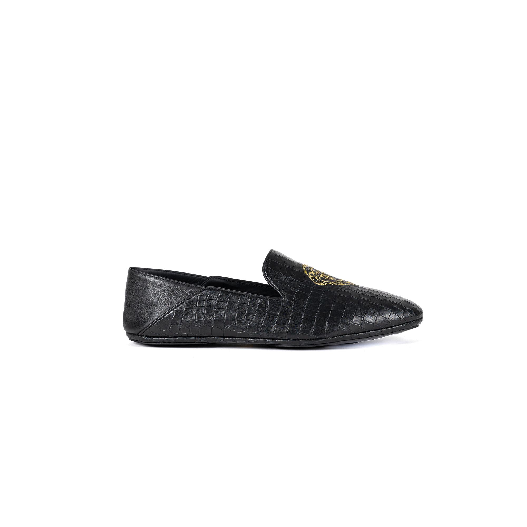 Indoor luxury slipper closed in cocco print leather - Farfalla italian slippers