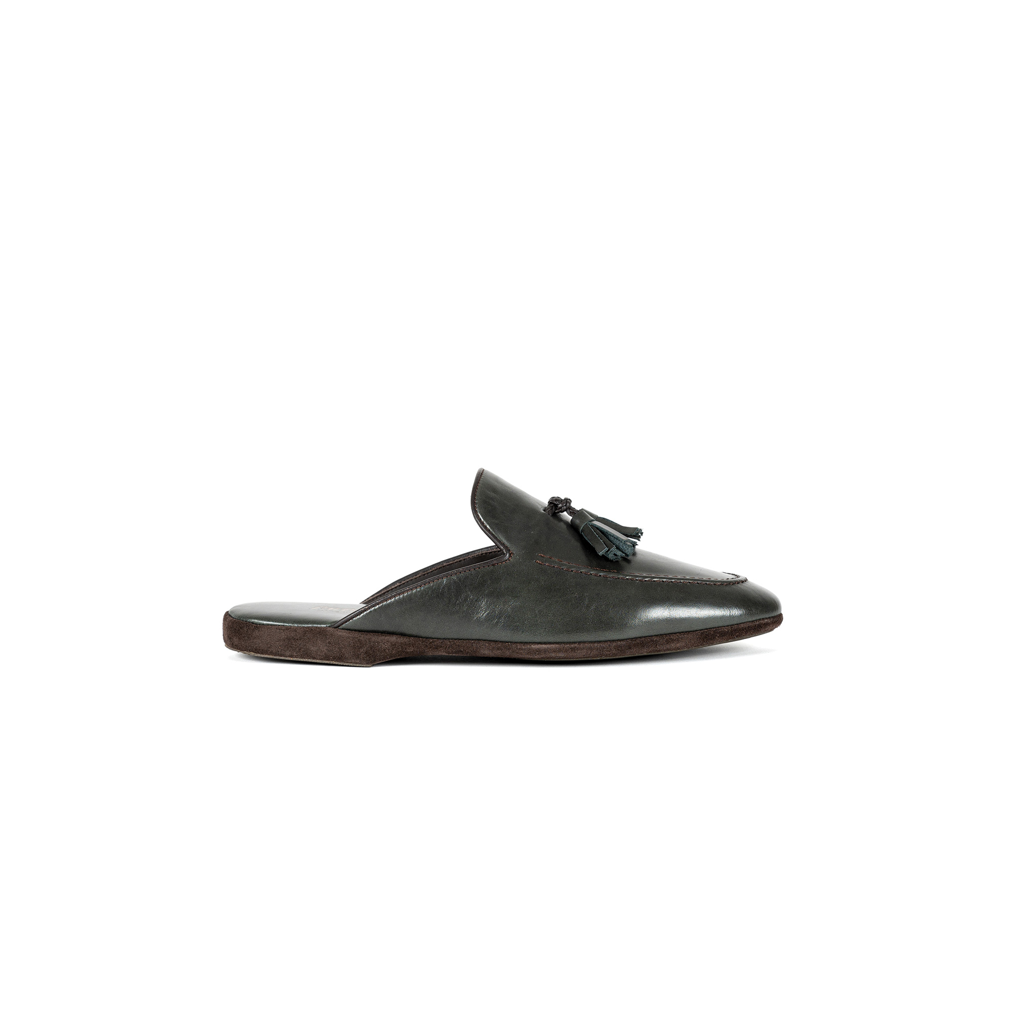 Indoor classic slipper in green calf leather - Farfalla italian slippers