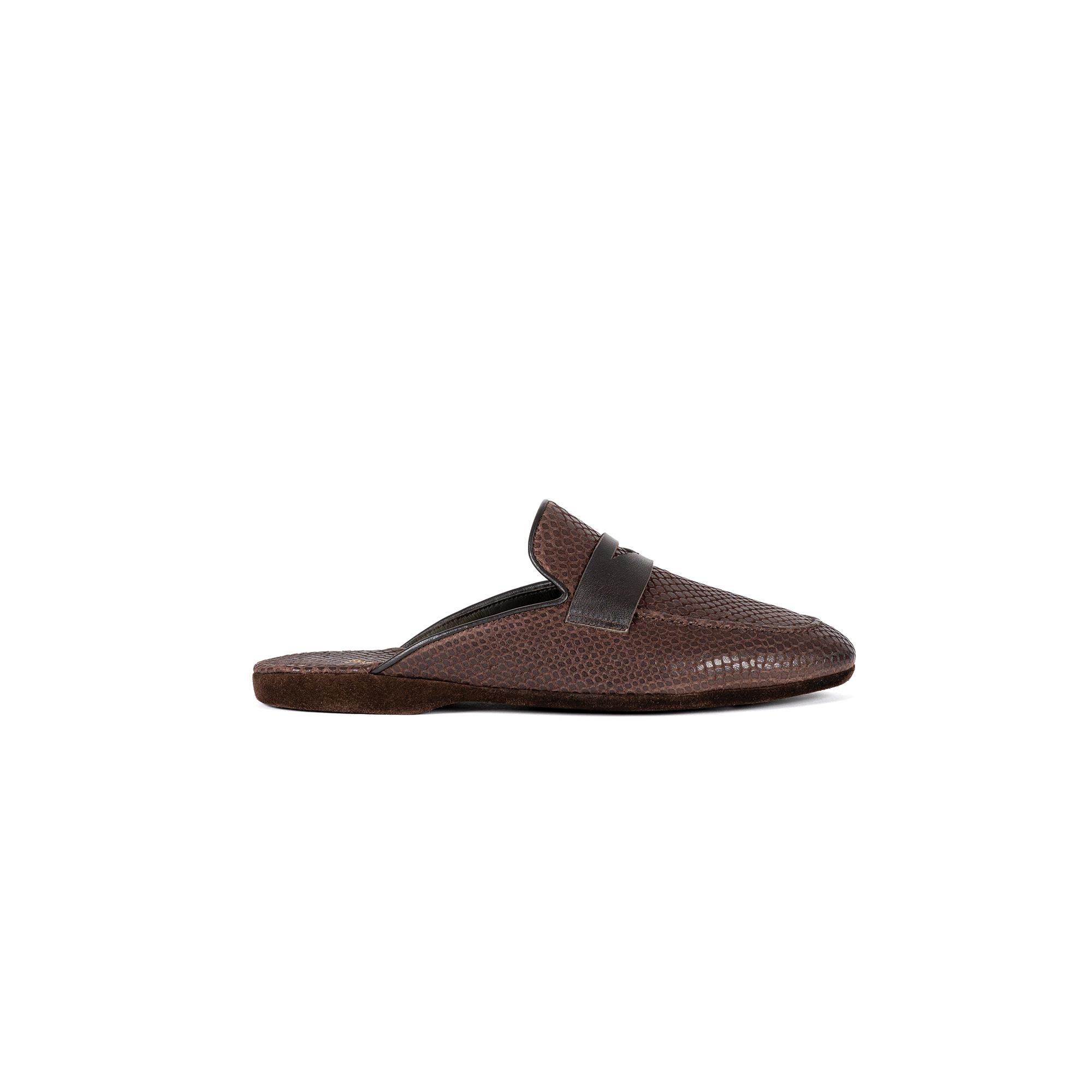 Indoor luxury slipper in brown exotic print leather - Farfalla italian slippers