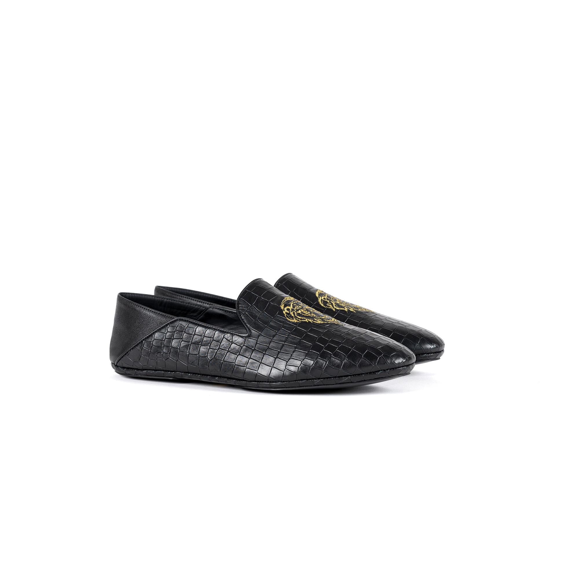 Pantofola interno lusso chiusa in pelle stampato cocco - Farfalla italian slippers