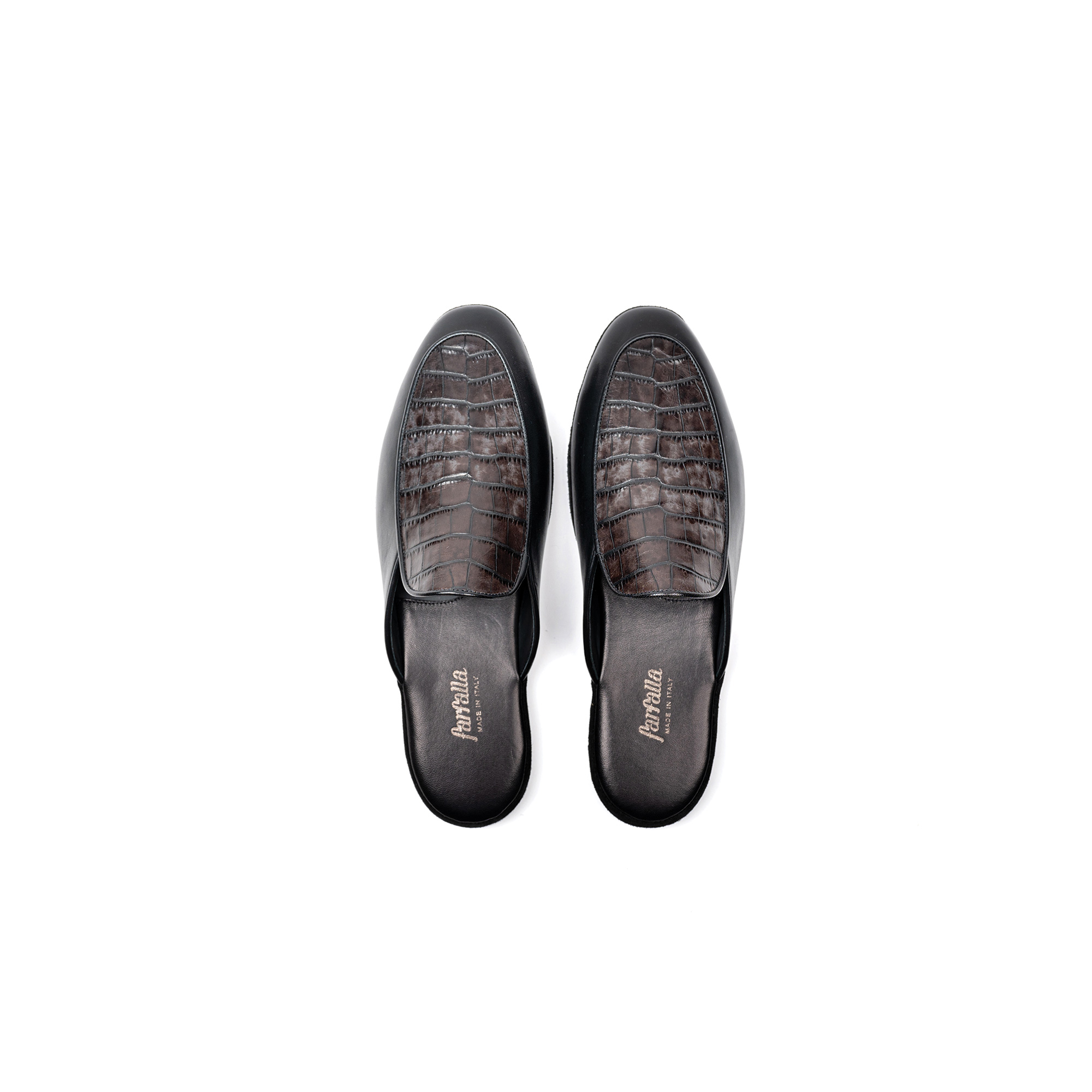 Indoor luxury slipper in black napa leather - Farfalla italian slippers
