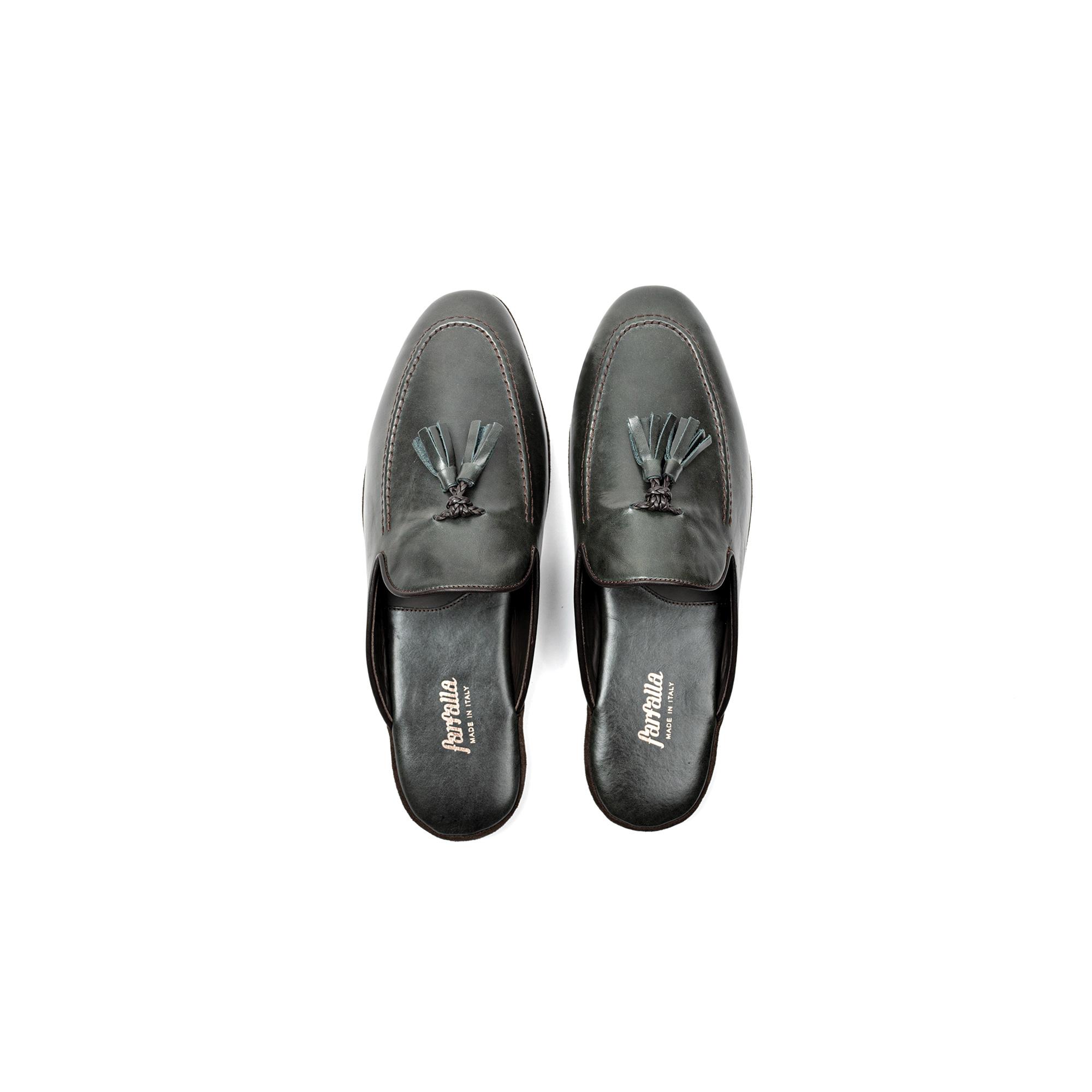 Pantofola interno classico in pelle vitello verde - Farfalla italian slippers