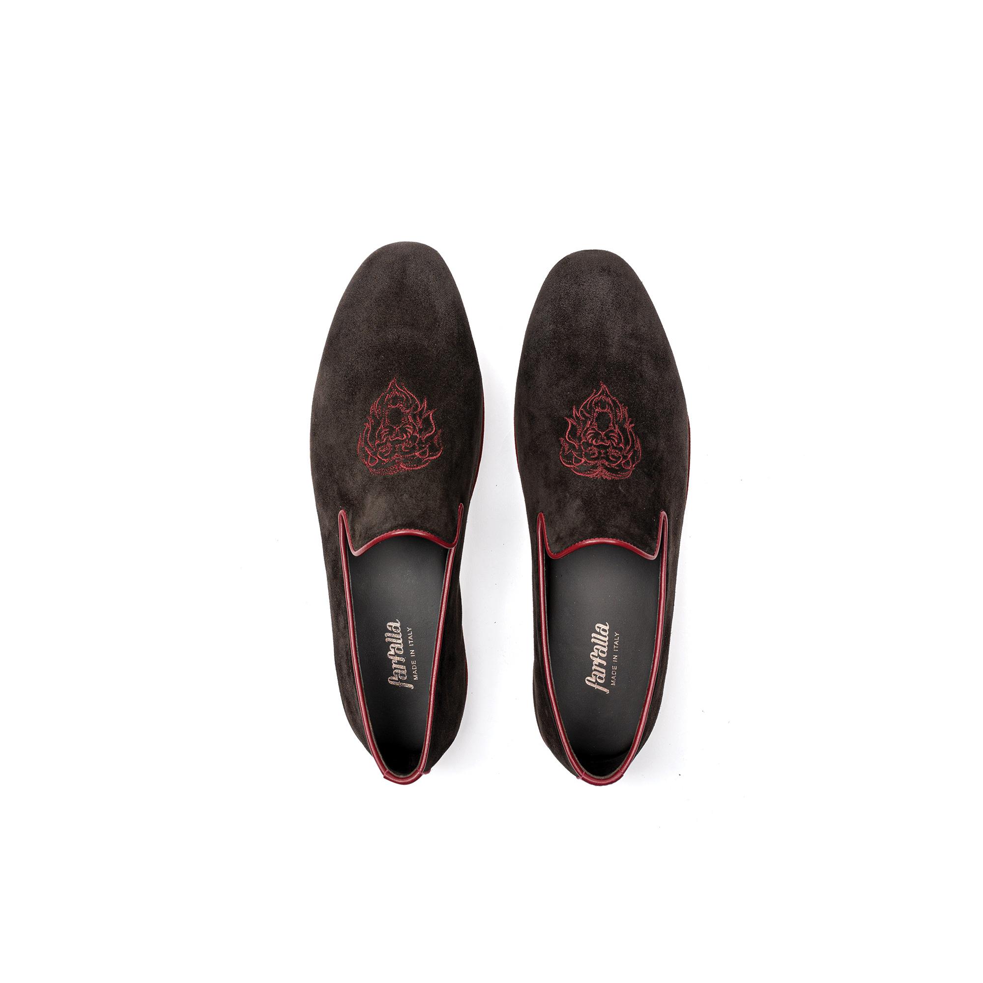 Indoor classic slipper in brown velour - Farfalla italian slippers
