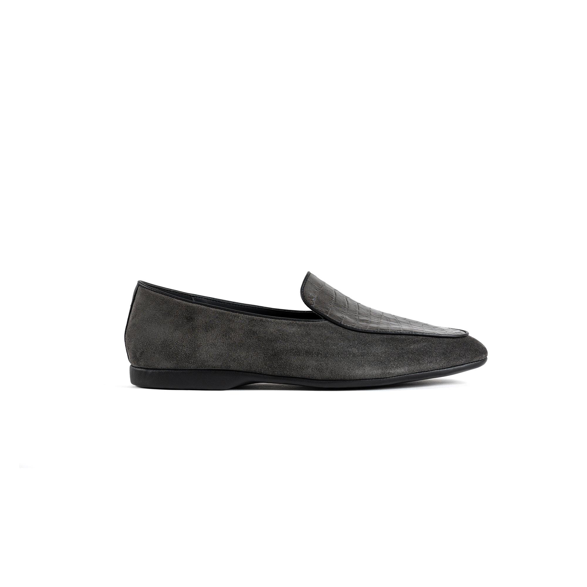 Indoor luxury slipper in graphite valour - Farfalla italian slippers