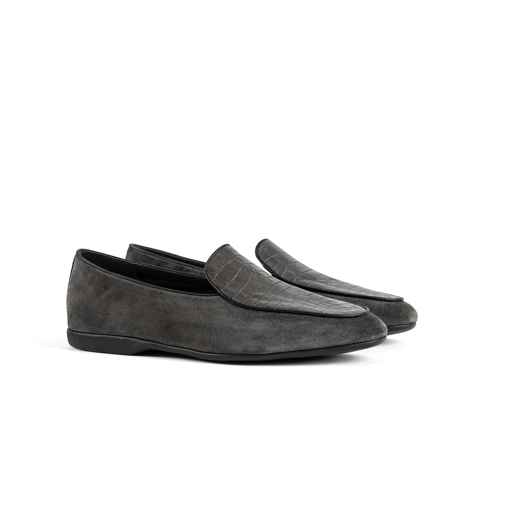 Pantofola interno lusso in velour grigio - Farfalla italian slippers