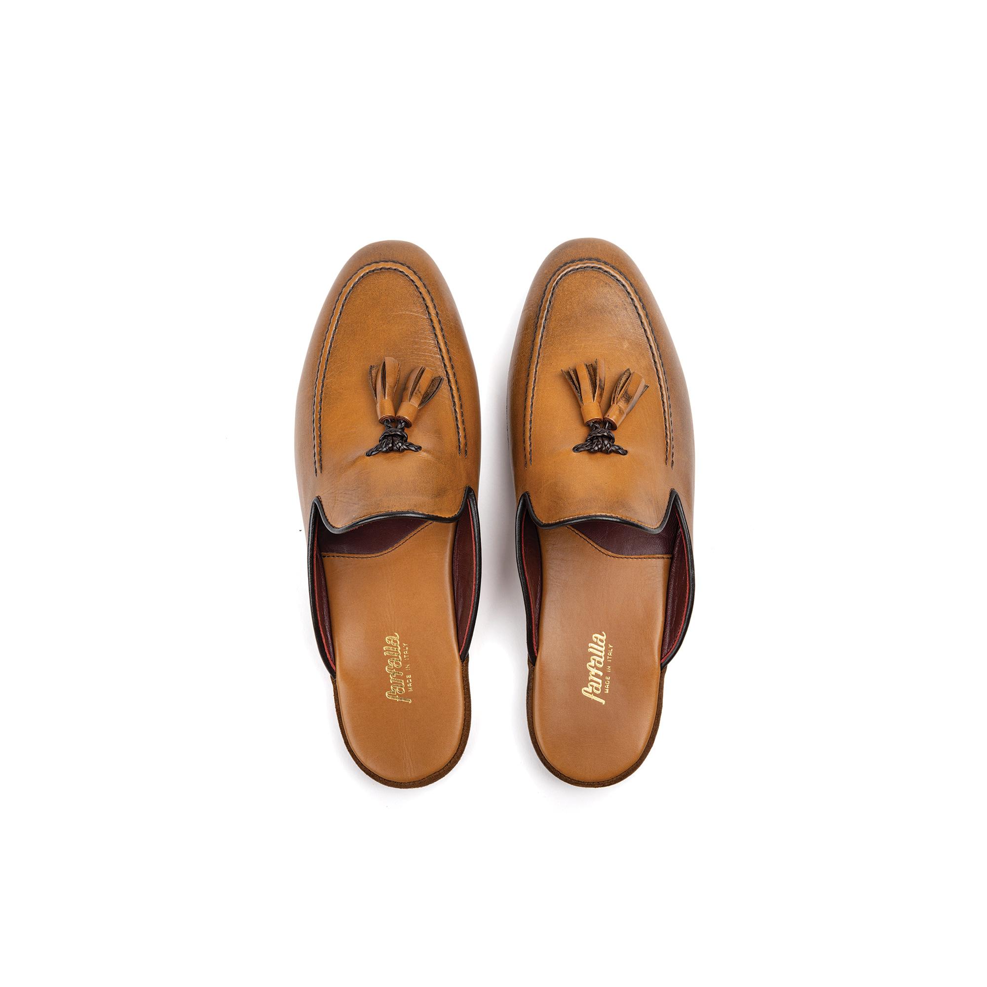Pantofola interno classico in pelle vitello cuoio - Farfalla italian slippers